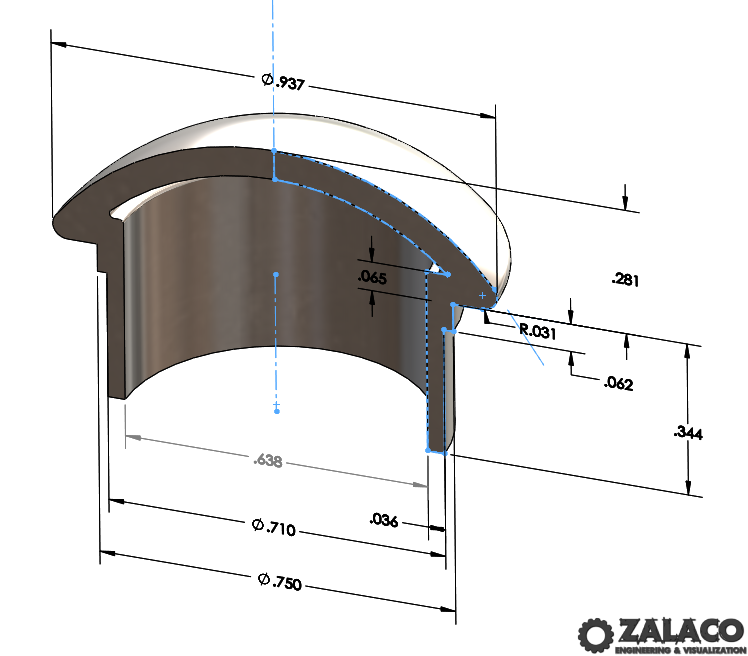 Shake Cap 3D Model - Shown with Dimensions